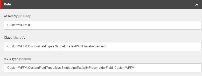 Custom field type template configuration image
